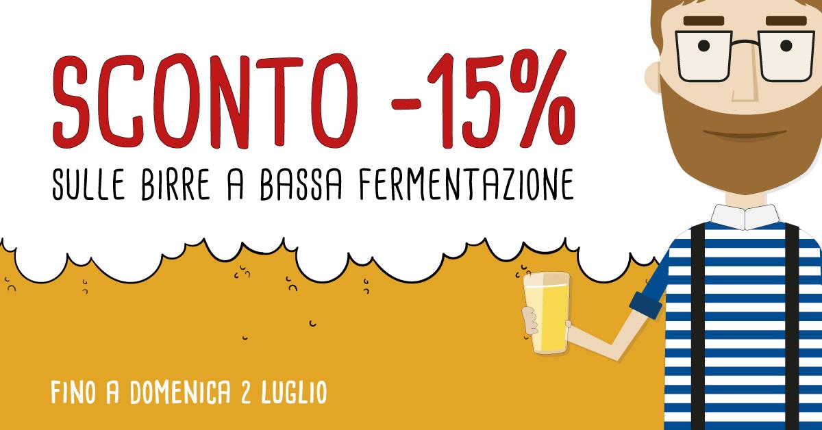 Birre a Bassa Fermentazione: -15% di Sconto fino domenica